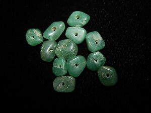 Authentic Pre Columbian Green Jade Beads Set Of 12 Translucent Disc Beads
