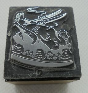 Vintage Printing Letterpress Printers Block Cooked Turkey On Plate