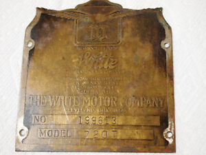 The White Motor Company Model 720t Automobile Name Plate Cleveland Ohio Vintage