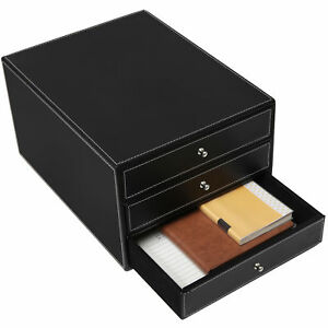Black Leatherette 3 Drawers File Cabinet office Supplies Desk Storage Organizer