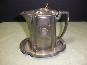 Vintage Reed Barton Hinged Silver Soldered Plated Creamer With Tray 8 Oz
