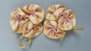 Antique Silk Satin Ombre Ribbonwork Flower Pins Stamens Applique Passementerie