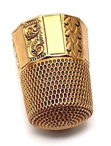 Antique 14 Karat Yellow Gold Sewing Thimble By Simons Brothers