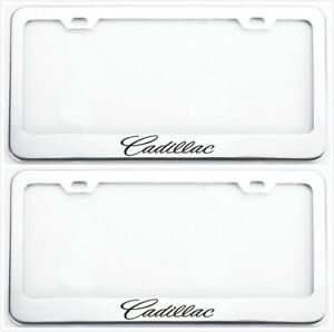 2x Stainless Steel Cadillac Laser Logo Chrome License Plate Frames Covers Caps