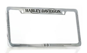 Harley Davidson Chrome Plated With Black Epoxy Fill License Frame