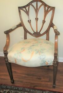 Antique Sheraton Hepplewhite Carved Bell Flower Chair Elm Wood Wreath Nail Head