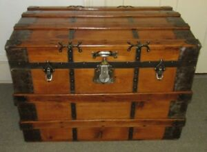 Antique Steamer Trunk Vintage Victorian Flat Top Wooden Travel Chest W Tray
