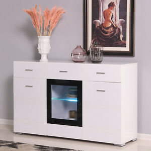 Kitchen Storage Buffet Led Cabinet Sideboard Cupboard Console Table W Drawers