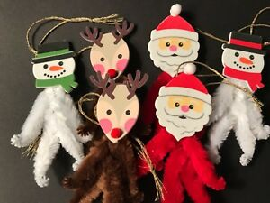 Chenille Christmas Ornaments Santa Reindeer Snowman Feather Tree Gift Tag