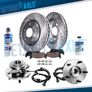 Front Wheel Bearings Drill Brake Rotors For 2005 2010 Commander Grand Cherokee