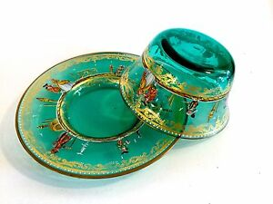 Antique Italian Green Glass Bowl Under Plate Hand Painted Enamel Gold