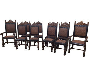 Vintage Set Of 10 Spanish Dining Chairs 2 Arms 8 Sides 1950 60 S