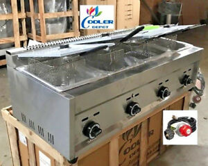 New 4 Burner Compartment Deep Fryer Model Fy6 natural Gas Propane Use Lp Nat