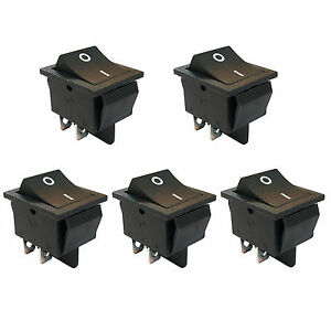 5 Pcs 4 Pin Dpst On off Mini Boat Car Rocker Switch Button 250v Black Us Stock