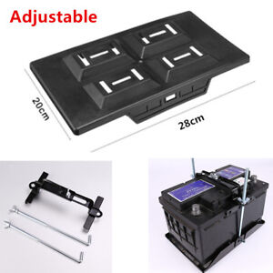 Adjustable Car Storage Battery Tray Holder Base Hold Down Clamp Bracket Kit Set