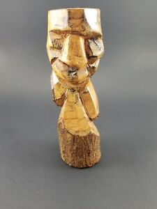 Vintage Hand Craved Wood Tiki Hawaiian Polynesian 7 Inches Tall
