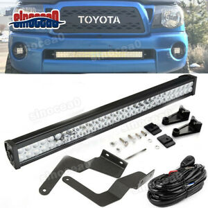 For 05 15 Toyota Tacoma Bumper Hidden Grille 32 In Led Light Bar Mount Kit Wire