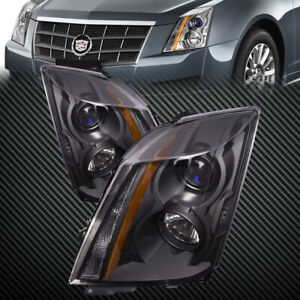 For 2008 2014 Cadillac Cts Headlights Set Black Housing Halogen Left Right Set