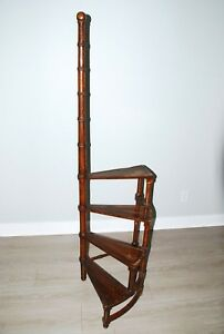 Architectural Antique Georgian Style Mahogany Spiral Library 4 Steps Ladder