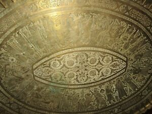 Antique Persian Large 42 Etched Bronze Platter Tray Sumerian Arabic King 27 Lbs