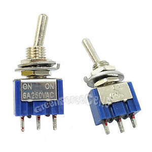100 Pcs 3 Pin Spdt On on 2 Position 6a 250vac Mini Toggle Switches Mts 102