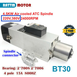 4 5kw 220 380v Bt30 Atc Air Cooled Spindle Motor 24000rpm Automatic Tool Change