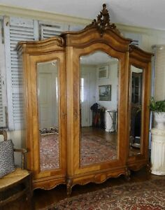 Antique French Armoire Wardrobe 3 Mirrored Doors W Key Walnut Keys
