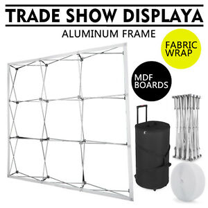 8 Trade Show Display Booth Pop Up Fabric Curved Exhibit Banner Spotlights Black