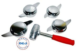 2 Bar Smooth Chrome Knock Off Spinners Red Lead Hammer For Lowrider Wire Wheel
