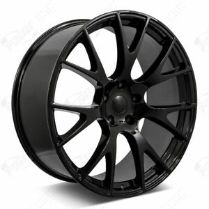 20 Hellcat Style Staggered Wheels Gloss Black Fits Dodge Charger Challenger 300