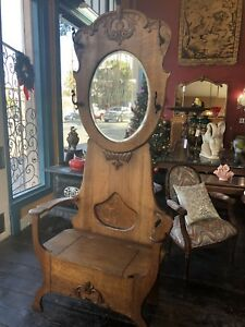 Antique 1900 S American Tiger Oak Hall Tree With Mirror Seat Lift Lid Storage 78