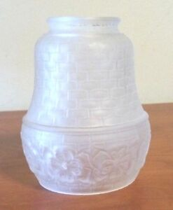 Vintage Antique Pressed Glass Lamp Shade Clear Glass W Brick Floral Design