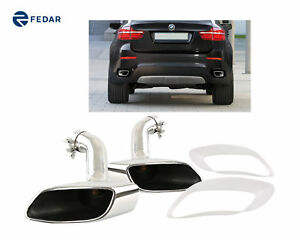 Fits 2008 2014 Bmw E71 X6 Oval Exhaust Muffler Tailpipe Tips Muffler Pipes Tips
