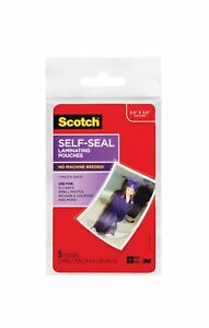 Scotch Self sealing Laminating Pouches Gloss Finish 2 5 Inches X 3 5 Inches 5