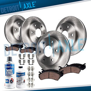 Chevy Tahoe Silverado Sierra 1500 Escalade Front Rear Brake Rotors Ceramic Pad