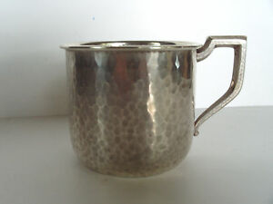Mission Era Arts Crafts Hammered Baby Cup International Heavy Sterling Silver