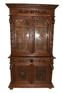 Wonderful Antique French Hunt Cabinet Oak 19th Century