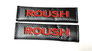 2x New Roush Mustang Carbon Fiber Seat Belt Cover Shoulder Pad Cushion For Ford