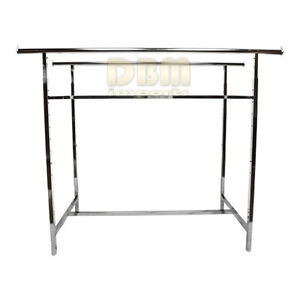 Retail Double 2 Bar Rail Clothing Clothes Display Rack Adjustable Height 72 Max