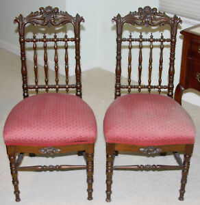 Two Matching Antique Rococo Revival Parlor Chairs