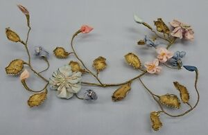 Antique French Silk Ribbonwork Flowers Ombre Passementerie Trim Millinery Dress