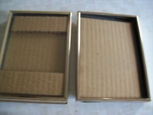 2 Vintage 5x7 Gold Embossed Metal Picture Frames 3 4 Wide Glass Easel Very Gd