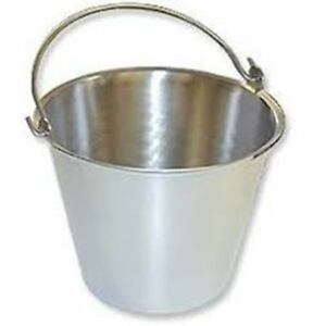 Stainless Steel Pail Bucket Handle 4 Quart Veterinary Surgery Dental Milk Food
