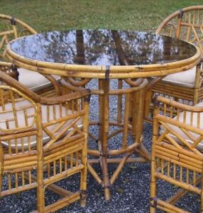 Vintage Mid Century Bamboo Rattan Chinese Chippendale Dining Table Only