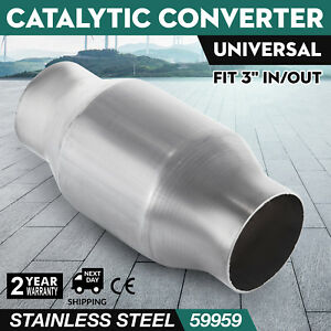 Get 3 Universal High Flow Stainless Cat Catalytic Converter 59959 Free