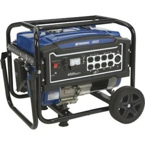 Powerhorse 4000 w Portable Gas Powered Generator With Wheel Kit Home Rv Camping