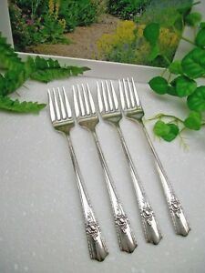 4 Wallace Harmony House Maytime Silverplate Luncheon Grille Forks 1944