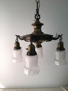 Antique Arts Crafts Mission Style Brass Ceiling Lamp 4 Light Fixture W Shades