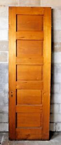 Antique Victorian Interior 5 Panel Door 1885 Butternut Architectural Salvage