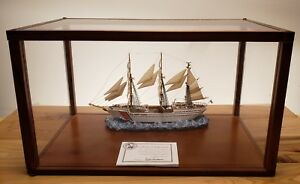 Vintage Cased Model Of Uscg Eagle Connecticut Cutter Schooner Ship In Glass Case